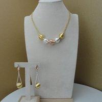 Boucles d'oreilles Collier YumingLai Fashion Design Luxe Trois tons 2 PCS Perles Costume Dubaï Femmes Ensembles de bijoux FHK7681