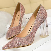 Sukienka Buty Bigtree Luksusowe Przezroczyste Obcasy Kobiety Pompy Ślubne Plac Plac Ladies Glittery Crystal Rhinestone Sexy High Heel