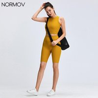 Women's Leggings NORMOV Sports Suit Running High Waist Seamless Workout Clothes Knitted Vest Bra Shortssolid Color Lift Pants For Women