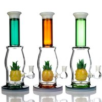 """11"""" Tall Unique Glass Bong Hookah Pineapple Perc Water Pipe Big Green Teal Dab Rigs Recycler With 14mm Male Bowl And Quartz Banger"""