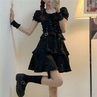 Qweek Женская Готическая Лолита Платье Goth Punk Gothic Harajuku Молл Гот Стиль Бандаж Черное Платье Слоеное Рукав Платье Эмо Одежда 210224