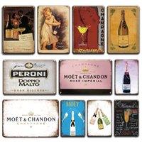 2021 Signe d'étain de champagne Vintage pour la salle de barre de Tiki Plaque décorative Retro France Moet Chandon Affiche en métal Plaque de salon de salon 30x20cm