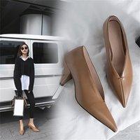 HOT VANGULL Femmes Véritable Cuir Chaussures Cuir Cuir Cuir Sheede Sheedi Spike Talons pointus Toe Femmes Pumping Office professionnel Carrière 210310