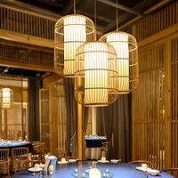 Chinese Style Bamboo Art Japanese Pendant Lamps Tatami Hotel Chandelier Bedroom Balcony Porch Lights Southeast Asia Tea Room Restaurant Hotpot Droplights