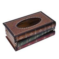 Caixa de tecido de forma de livro de livro retro