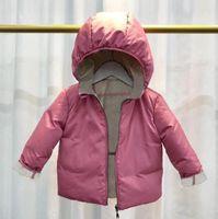 Doppelseiten Baby Kinder Mädchen Winterjacken Mit Kapuze Dünne Jungen Oberbekleidung Mäntel Down Parkas Kinderkleidung