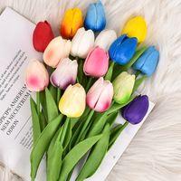 PU Mini Künstliche Blumen Tulpe Hochzeit Dekorationen Blume Home Hotel Innendekoration 34cm Party Supplies XD24556