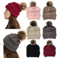 7 couleurs femmes hiver tricoté chapeau tricoté pom boules de ballon de couleur solide laine chaude chapeau chapeau de fête de noël chapeaux zza9350