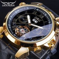 Jaragar Golden Tourbillon Mekaniska Klockor Mäns Automatisk kalender Svart Äkta Läder Bälte Klänning Armbandsur Relogio Clock