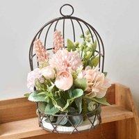 Dekorative Blumen Kränze Metall Hängende Vogel Käfig Topf Pflanze Blume Hortensie Rose Home Garten Balkon Dekoration Halter Kettenstand Pflanzer Korb Azz0