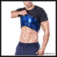 STOCK Silver Blue Inside Man Women Original Unisex Sweat Sauna Shaper Waist Trainer Short Sleeve Vest Corset Slimming Sports Tank Top Shapewear