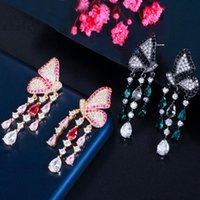 Boucles d'oreilles à goutte à goutte d'argent de papillon symétrique en pierre de bretelles pour femmes bijoux goutte à goutte d'argent