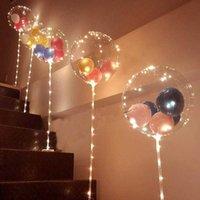 1 set LED-Ballon mit Säulenstand leuchtend transparent Bobo Ballons Ständer LED-Zeichenleiste Hochzeit Geburtstag Party Dekoration Y0923