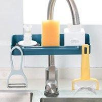 Torneira da pia que penduram a cremalheira de armazenamento à liftable Handwashing esponja de esponja de esponja de prato de toalhas seco orgânico de dreno para cozinha