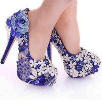 Blue Crystal Wedding Dress Rhinestone Peacock Gorgeous High Heel Shoes Nightclub Prom Dress Shoes Bridal Dress Shoes