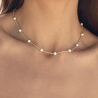 Chokers Wholesale Natural Pearl Stainless Steel Gold Choker Necklace Women Invisible Neclace Nice Gift For Valentine's Day Gife
