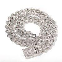 18mm Buzlu Küba Kolye Zincir Hip Hop Takı Gerdanlık Altın Gümüş Renk Rhinestone CZ Toka Erkek Rapçi Kolye için Link