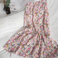 Spring Korean Version Of The Women Skirt High Waisted Thin A Line Sweet Crushed Flower Mid Length Girl Summer