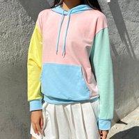Hoodie superdimensionado para mulheres outono inverno moda macaron colorblock mais novo streetwear casual moletom fêmea solta dropshipping