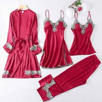 Calças femininas capris 4 peças mulheres pijamas conjunto falso seda sleepwear elegante laço sexy moda primavera outono homewear pijamas fiby