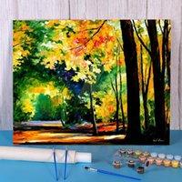 Pinturas da floresta da manhã coloração por números ajustados pintura pintos de óleo 50 * 70 fotos de lona feitos à mão por atacado