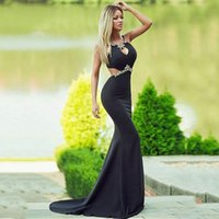 Sexy Rhinestone Black Mermaid Prom Dresses Jewel Neck Long Backless Cutaway Sides Robe De Soiree Sweep Train Formal Evening Party Gowns for Women Vestidos
