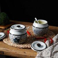 Storage Bottles & Jars 500ML Kitchen Seasoning Jar Ceramic Crock Pot Household Salt Set With Lid Sugar Bowl Chili