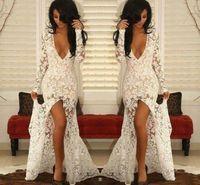 2021 dentelle blanche c large v perond robes de bal à manches longues frontales frontales rodes de soirée voir à travers la sirène femme robes de fête formelle