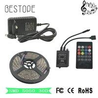 LED 스트립 5M SMD RGB LED 스트립 라이트 방수 테이프 + 음악 사운드 센서 IR 컨트롤러 20KEYS + DC12V 전원 어댑터 램프