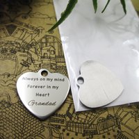 """40pcs--stainless steel charms""""always on my mind forever in my heart grandad"""" more style choosing DIY pendants fo necklace"""