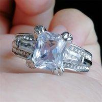 Donne Grandi Gioielli Anello Principessa Taglio 10CT Diamond Pietra 300pcs CZ 925 Sterling Sterling Silver Engagement Wedding Ring Regalo 21 R2
