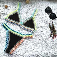 Micro Bikini 2019 Mujeres Hecho a mano Crochet Knit Swimwear Halter Patchwork Traje de baño Traje de baño Biquini Thong Bikini Traje de Bano L0223