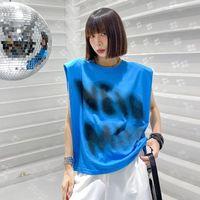 Women's T-Shirt Summer Chic Irregular Panelled Print Sleeveless Woman Tshirt 2021 Loose Design Vest Fashion Tide All Match O Neck T Shirt