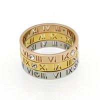 New Full Size 6-10 Rose Gold 18K 4 Diamond Couple Roman numeral Titanium Steel Tail Finger Ring for men and women