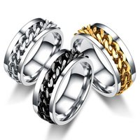 Homens rotativos de aço inoxidável anel de alta qualidade spinner cadeia punk mulheres jóias para presente de festa