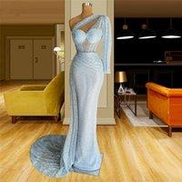 Light Blue Mermaid Evening Dress Lace Illusion Top Over Skirt Prom Gowns Elegant Vestido De Novia