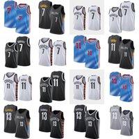 بروكلينشبكاترجل كيفن 7 Durant كرة السلة جيرسي 11 Irving 13 Harden Jerseys 2021 City Blue Edition أسود أبيض بلا أكمام قميص