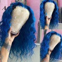 블루 컬러 인간의 머리 가발 Pre Plucked HD 표백제 매듭 브라질 딥 웨이브 흑인 여성 Atina에 대 한 Glueless 투명 레이스 가발