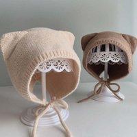 Caps & Hats Winter Baby Hat With Ear Crochet Kids Girl Boy Bonnet Protection Infant Toddler Beanie Cap Accessories 42-46cm