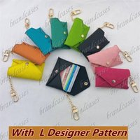 Designer Letter Wallet Keychain Keyring PU Leather Housekeeper Holder Car Chain Charm Brown Flower Mini Bag Trinket Gifts Accessories no box