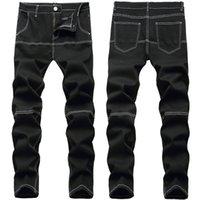 남자 청바지 남자 검은 슬림 스트레치 데님 스플케이션 패치 워크 콘트라스트 컬러 바지 Streetwear 바지 패션 의류