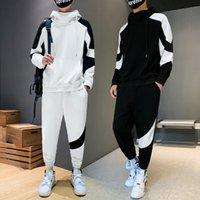 2021 Yeni Patchwork erkek Spor Setleri Sonbahar Bahar Hoodies Rahat Siyah Beyaz Eşofman Kazak + Sweatpants Track Suit Wanz