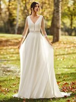 Other Wedding Dresses Transparent Tulle A Line Long Sleeves Dress Bohemian Beach Summer 3 4 V Neck Plus Size Bridal Gown Custom Made1