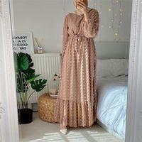 Siskakia Solid 3D Pompon Maxi Dress Dress per le donne Fall O collo manica completa Duabi Duabi Turchia QTAR Oman Abbi Abiti 210309