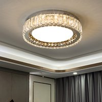 Modern light  bedroom round led crystal ceiling lamp simple home Nordic square hall living room lamp
