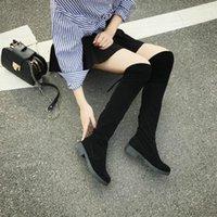 Сапоги HKXN 2021 Женская зима над коленом гладкий комфорт плюс хлопок плоская стая мода ботинок T