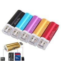 500 шт. Зажигалка в форме в одном USB 2.0 Multi Memory Reader для Micro SD / TF M2 MMC SDHC MS Бесплатный DHL