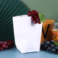 كيس ورق كرافت قابل للغسل قابلة لإعادة الاستخدام ورقة كيس تخزين الحاويات الزخرفية الزخرفية (أبيض، 10x10x20cm)
