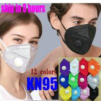 12 cor kn95 ffp2 máscara com válvula de fábrica de fábrica pacote de varejo adulto 6 camada face reutilizável Respirador de carbono ativado mascherine