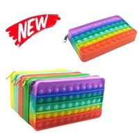 20cm Fidget Toys wallet portable decompression Push It Bubble Sensory Autism Special Needs Stress Reliever Squeeze Toy for Kids Family